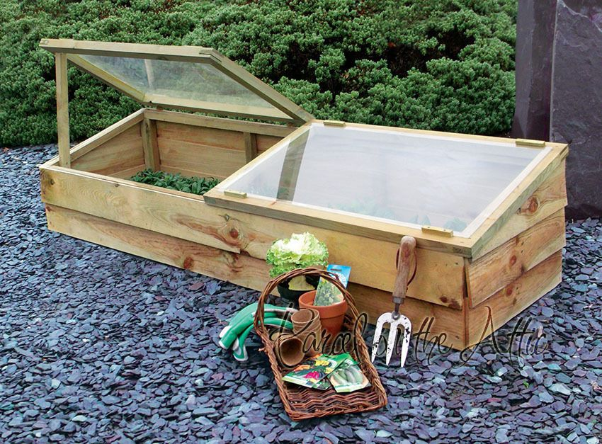 Large Wooden Cold Frame Mini Greenhouse Pressure Treated Timber Grow ...