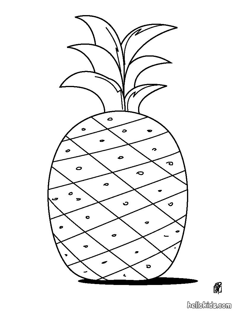 have fun coloring this pineapple coloring page from fruit coloring