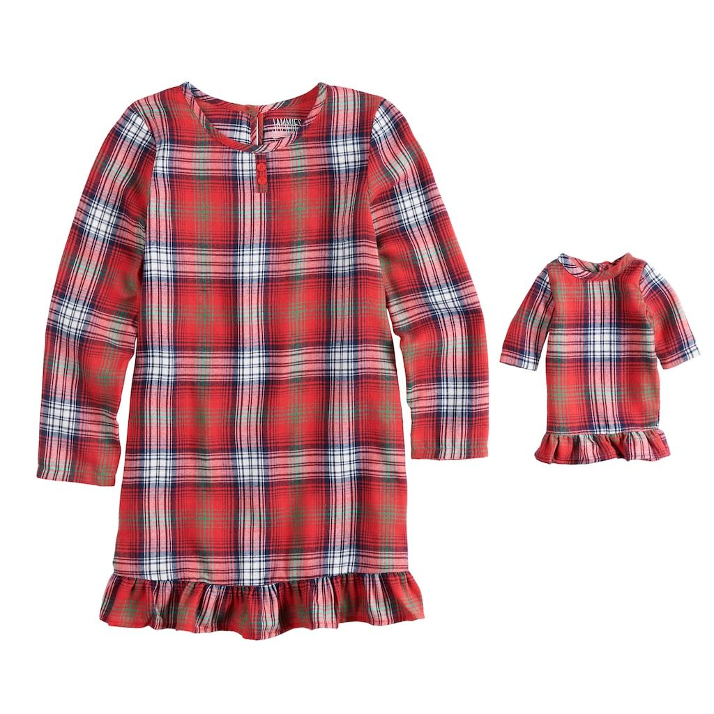 Red flannel nightgown  Girls  Jammies For Your Families Plaid Flannel Nightgown u Doll
