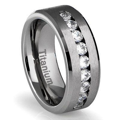 8MM Mens Titanium Ring Wedding Band With Channel Set CZ Size 8 Available