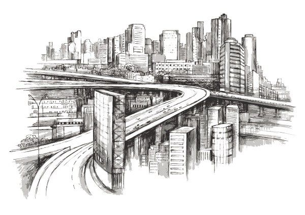 Vector Of Hand Draw City Secondary Art Edu