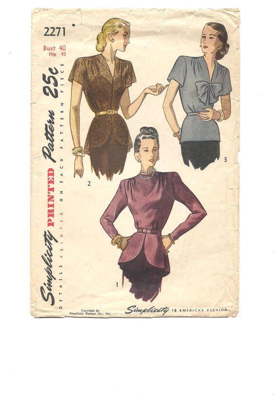 1940s BLOUSE with PEPLUM 40s Swing Era ~ Plus Size Bust 40 Hip 43 ...