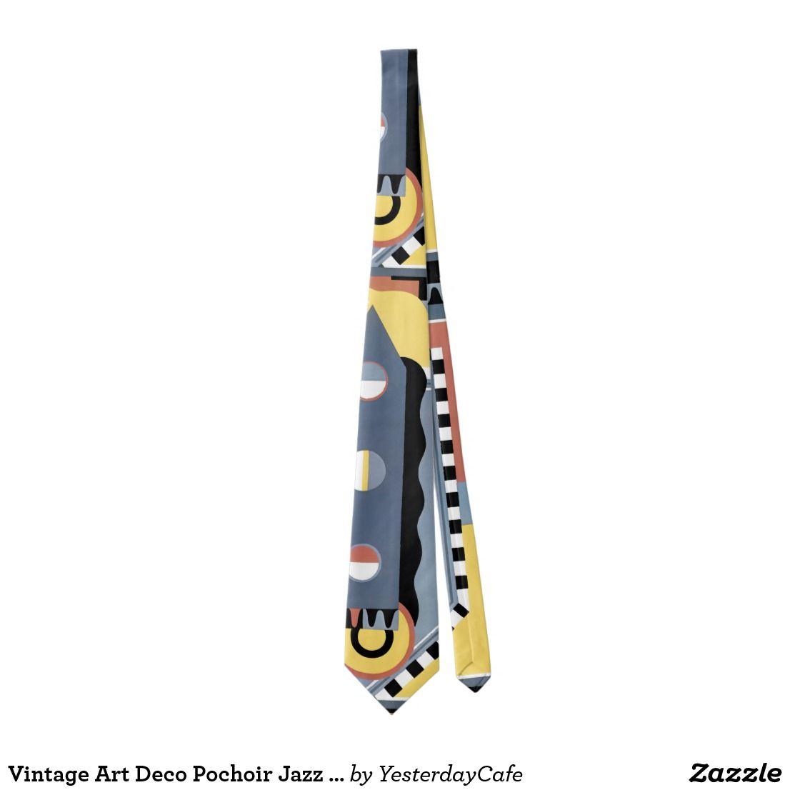 Vintage Art Deco Pochoir Jazz Geometric Patterns Tie