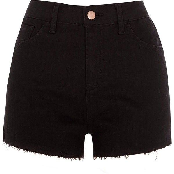 Outlet Official Site Womens Black embellished high rise denim hot pants River Island Buy Cheap Ebay m6XO6T4
