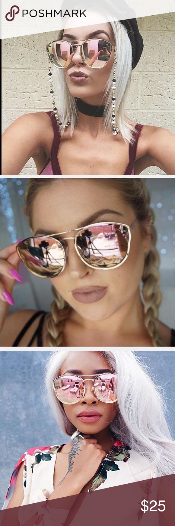6765afc841cc0 QUAY Australia Cherry Bomb Sunglasses Rose gold  pink QUAY Australia  sunnies. Has a green reflect in some light as well! Worn twice