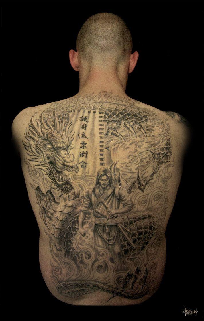 Korean tattoo ideas full back piece japanese dragon tattoo for Dragon and samurai tattoo meaning