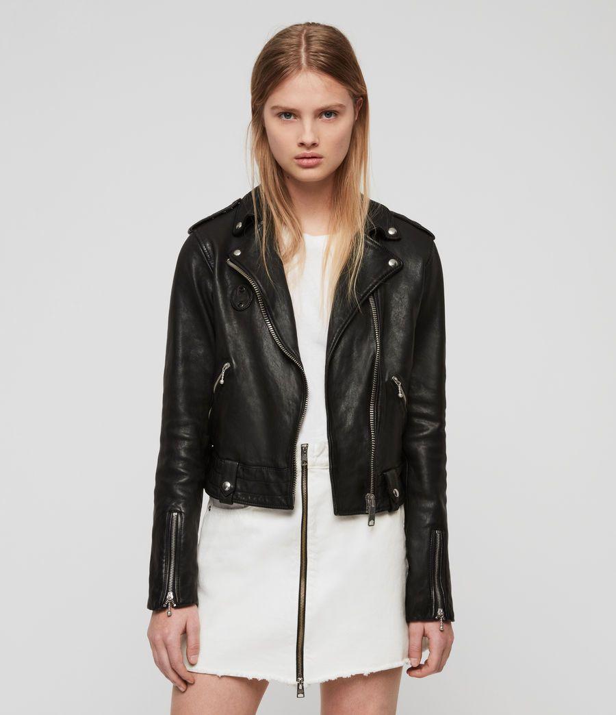 Women S Vixon Leather Biker Jacket Black Image 1 Leather Jackets Women Bomber Jacket Vintage Leather Coat Jacket [ 1044 x 900 Pixel ]