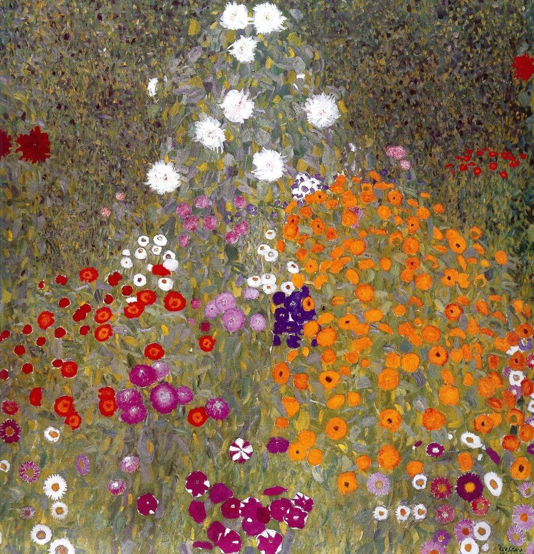 Jardin en flor. Lienzo de Klimt (1862-1918) 65x65cm - Decorar con Arte