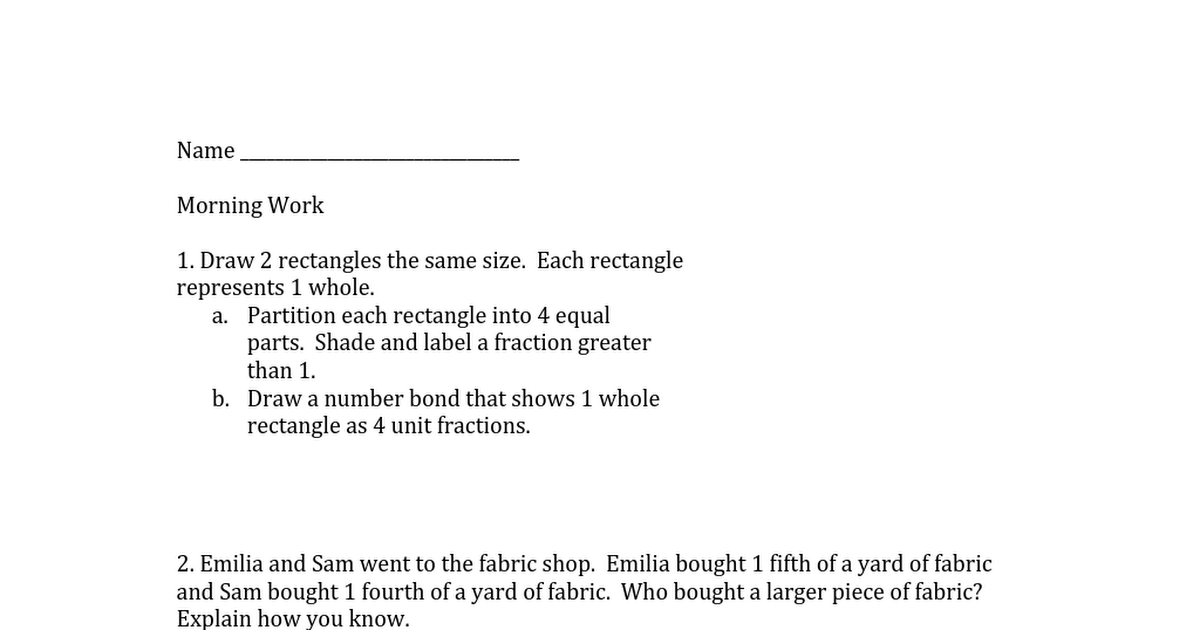 Eureka Math Morning Work: Grade 3 Module 5 Lesson 13 | Grade
