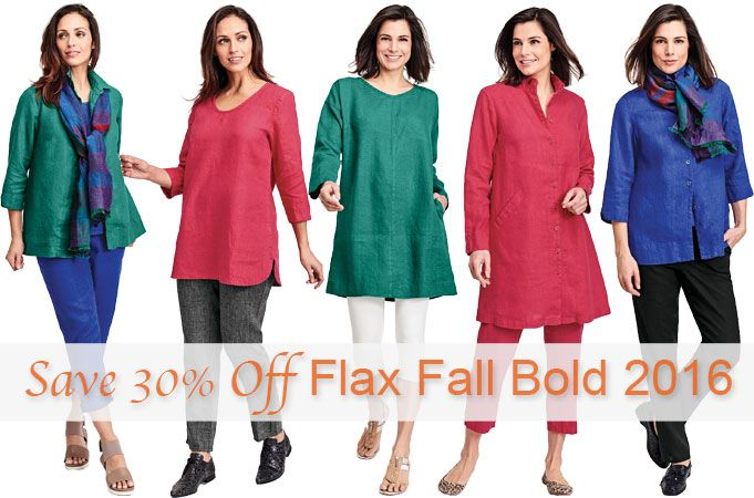 FLAX Fall Bold 2016 on Sale! | Fg Clothing #FLAX Save 30% Off on #FLAXCollection Fall Bold 2016. Fg Clothing loves the jewel tones of the #FLAXClothing Fall Bold 2016 Line. #FLAXDesigns FLAX Fall Bold 2016 Collection is full of elegant jewel tones in medium weight linen and offered in some of your favorite styles from FLAX Neutral Two. FLAX Fall Bold 2016 can be worn head-to-toe or just to add a pop of color. Shop Fg Clothing's Tuesday's Deal! #LinenClothing