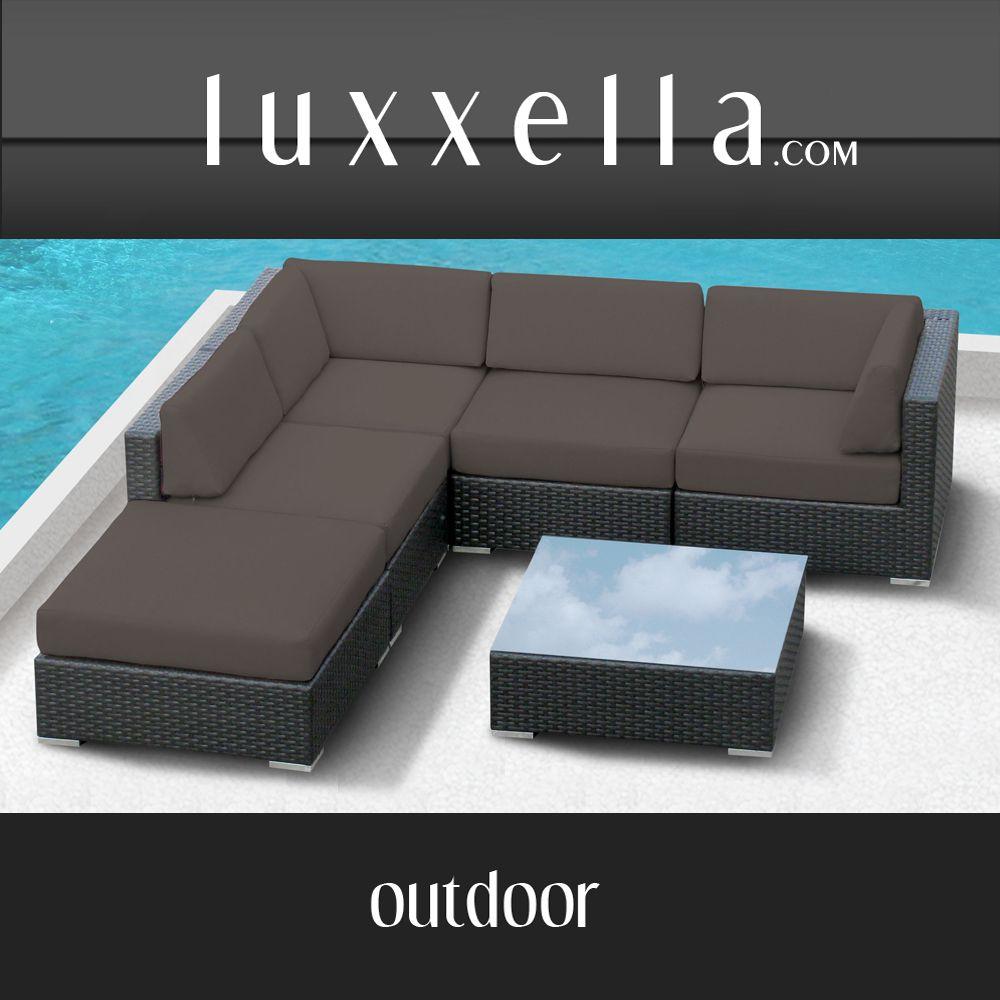 Bella Life Rattan Garden Furniture: Gazebo 6 Pc Wicker Modern Patio Furniture DARK GREY
