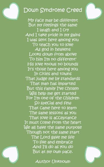 Down syndrome poem