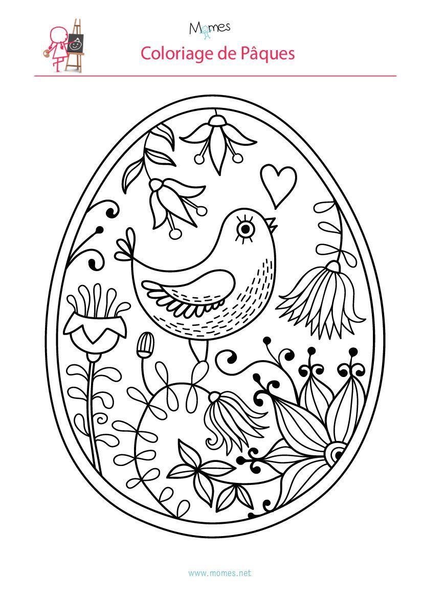 Coloriage de l oeuf de P¢ques  l oiseau