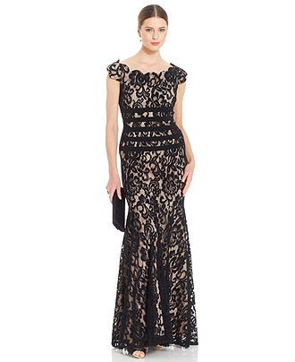 059ee4631eed Another candidate for new black tie event dress Betsy & Adam Cap-Sleeve  Contrast Lace Mermaid Gown - Dresses - Women - Macy's