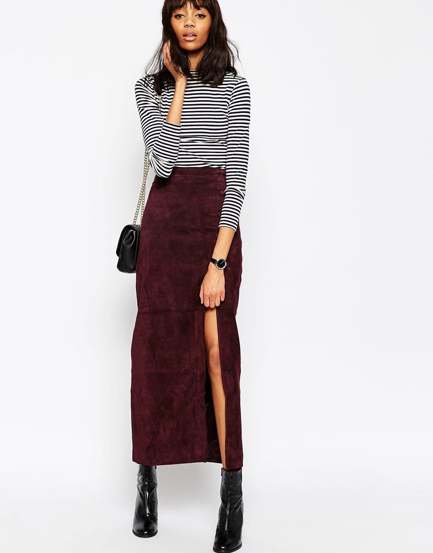 Suede Maxi Skirt with Thigh Split for work in the fall or winter