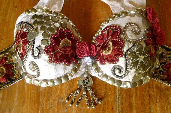 Red & gold Embellished Indian Rose Gypsy style Burlesque Tribal BellyDance White Bra beaded by PoisonBabe