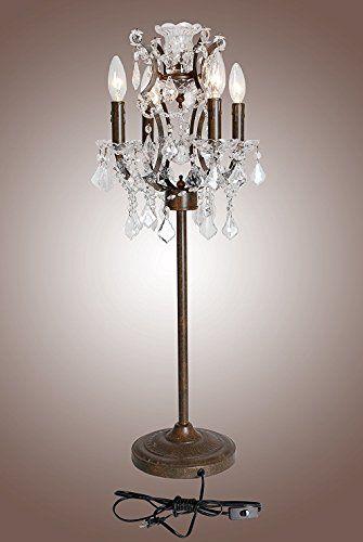 Vintage 19th C Rococo Iron Crystal Table Lamp Rustic I Https Www Amazon Com Dp B01m4hjud8 Ref Cm Sw R Pi Rustic Table Lamps Chandelier Table Lamp Lamp