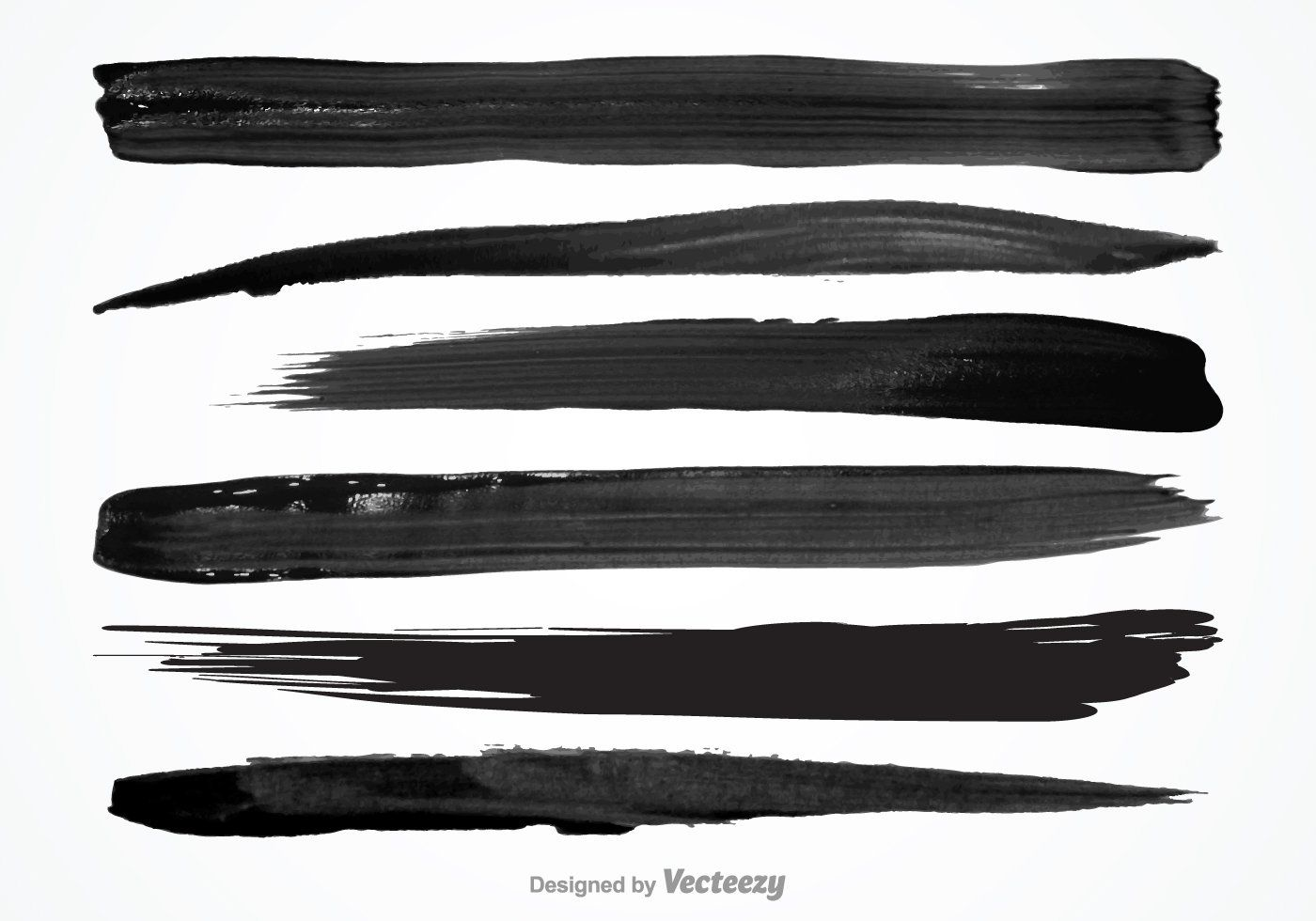 Vector set of textured wet brush strokes of black paint to download