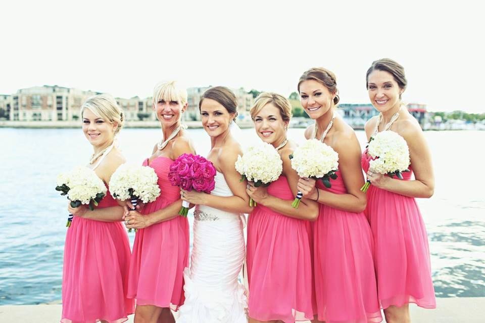 Donna Morgan Honeysuckle bridesmaid dresses || Ashley and Chris\'s ...