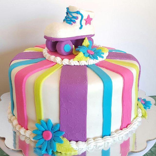 Roller Skate Birthday theme cake! #happybirthday #birthdaycake #birthday #cake…