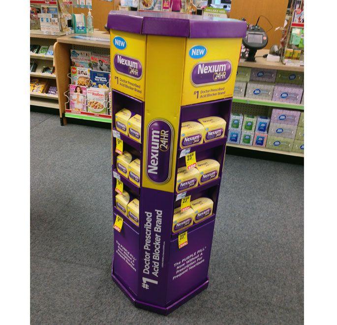Nexium24HR Walgreens Pharmacy Floor Display - Pfizer Brings