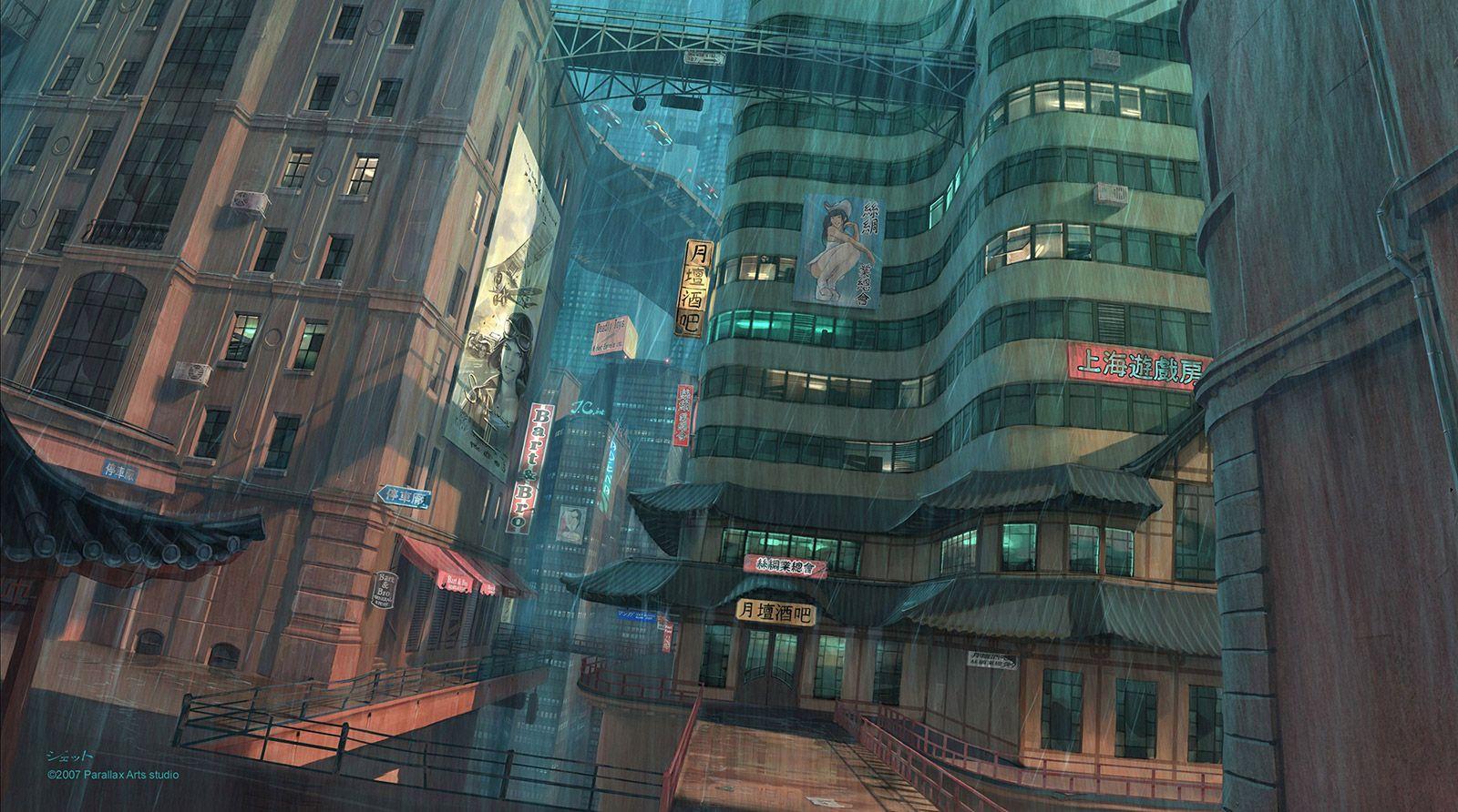 Nightfall city concept picture 2d architecture concept for Architecture art design