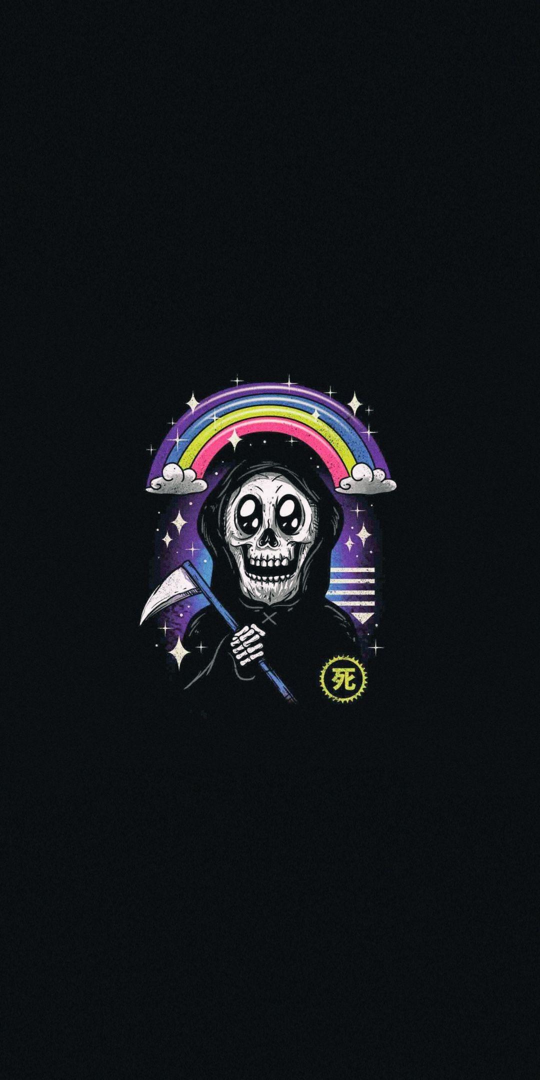 Happy, Grim Reaper, minimal, art, 1080x2160 wallpaper