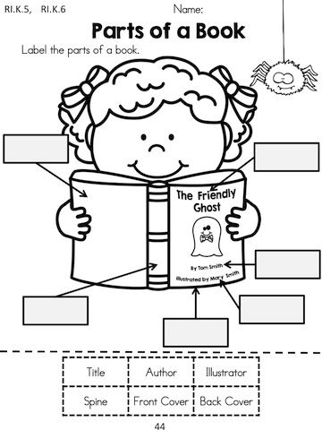 Printables Parts Of A Book Worksheet Kindergarten parts of a book charts anchors and anchor label the with halloween theme kindergarten