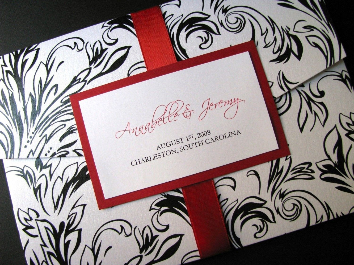 Red Black And White Wedding Invitation With Monogram Ribbon Tag ...