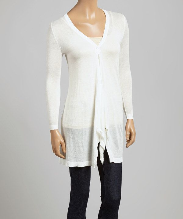 Look at this Ivory Drape Cardigan on #zulily today!