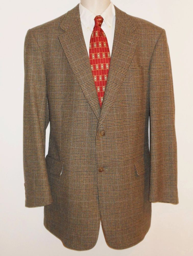 Hart Schaffner Marx 44XL Extra Long Sport Coat Plaid Brown Black ...