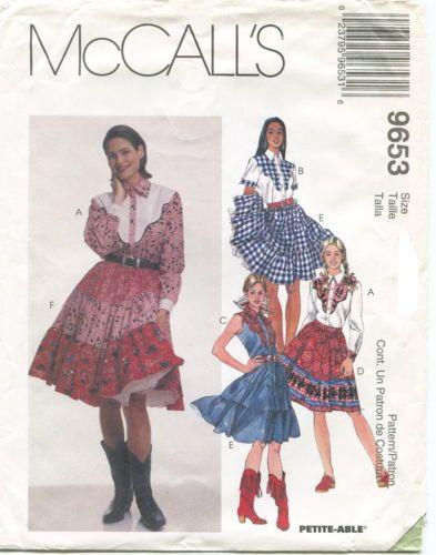 McCalls-9653-Misses-Western-Shirt-Skirts-Petticoat-Sewing-Pattern ...