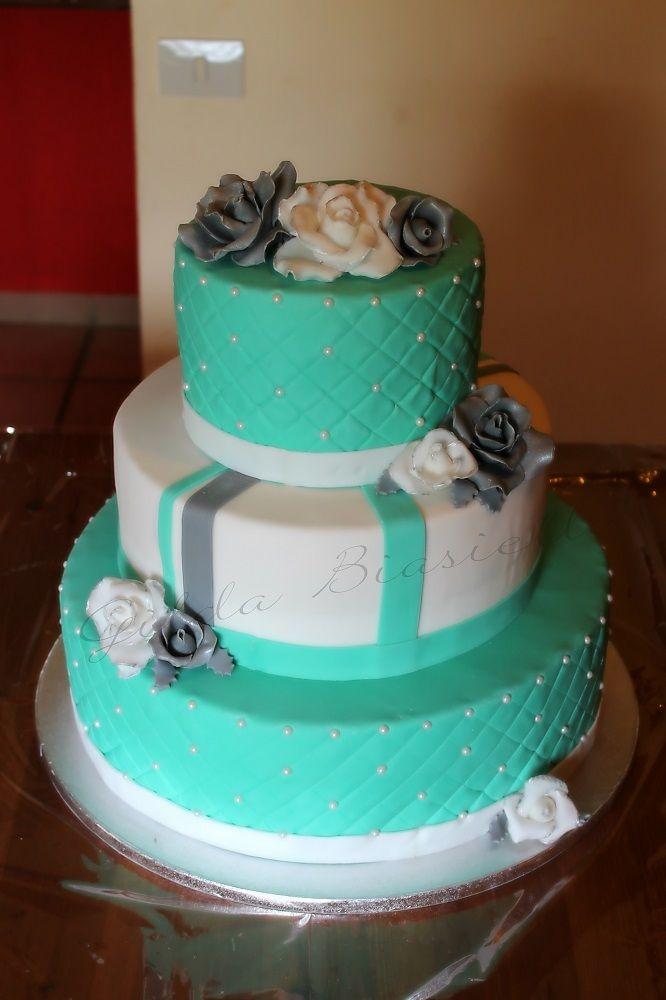 Torta rose bianca e verde Tiffany per 18 anni ragazza.