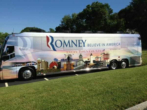 The bus arriving in New Hampshire to kick off the Every Town Counts bus tour.