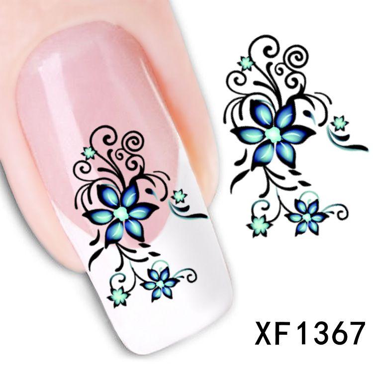 flower design Water Transfer Nails Art Sticker decals lady women ...