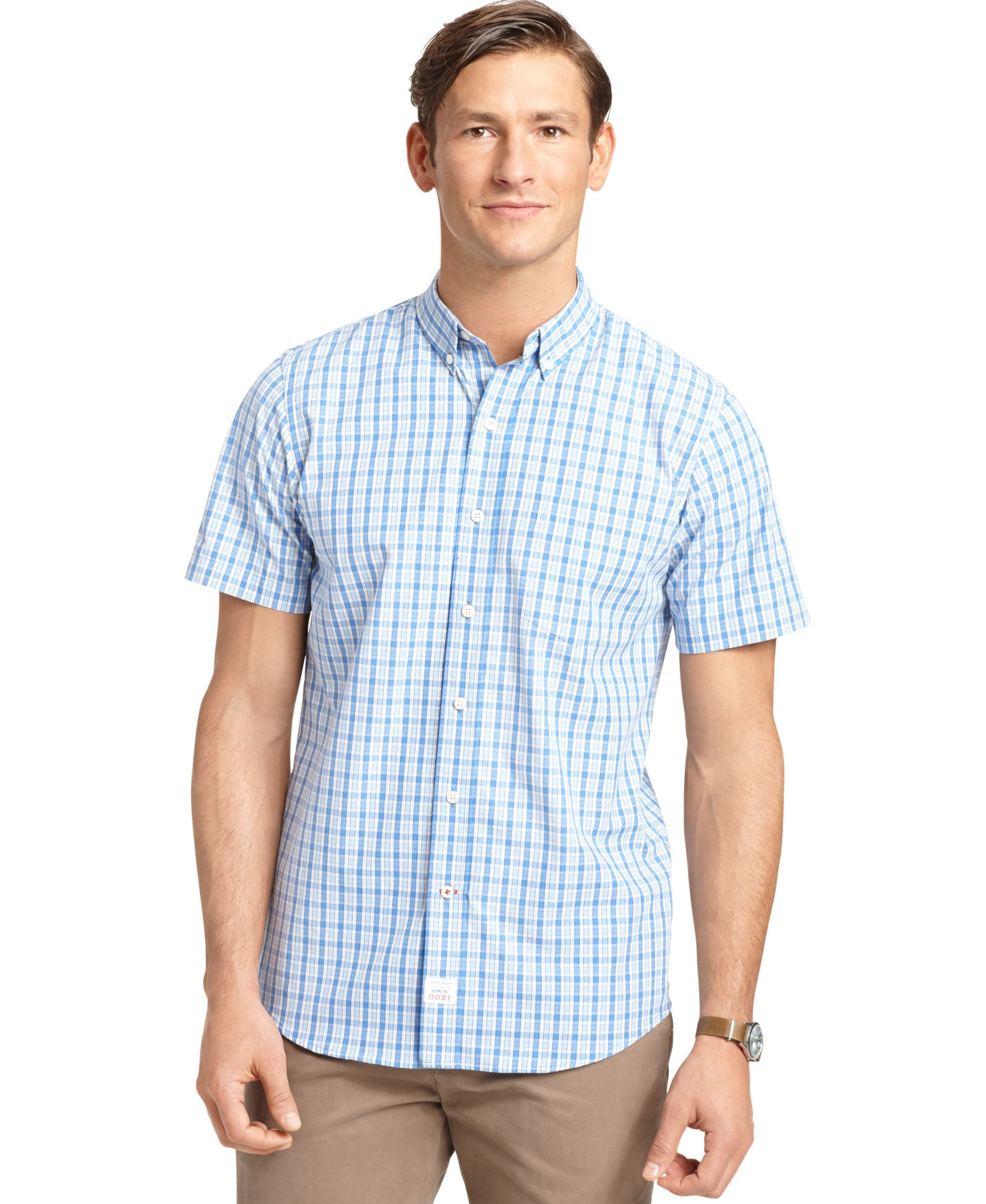 Izod Short-Sleeve Plaid Shirt | Products | Pinterest | Short ...