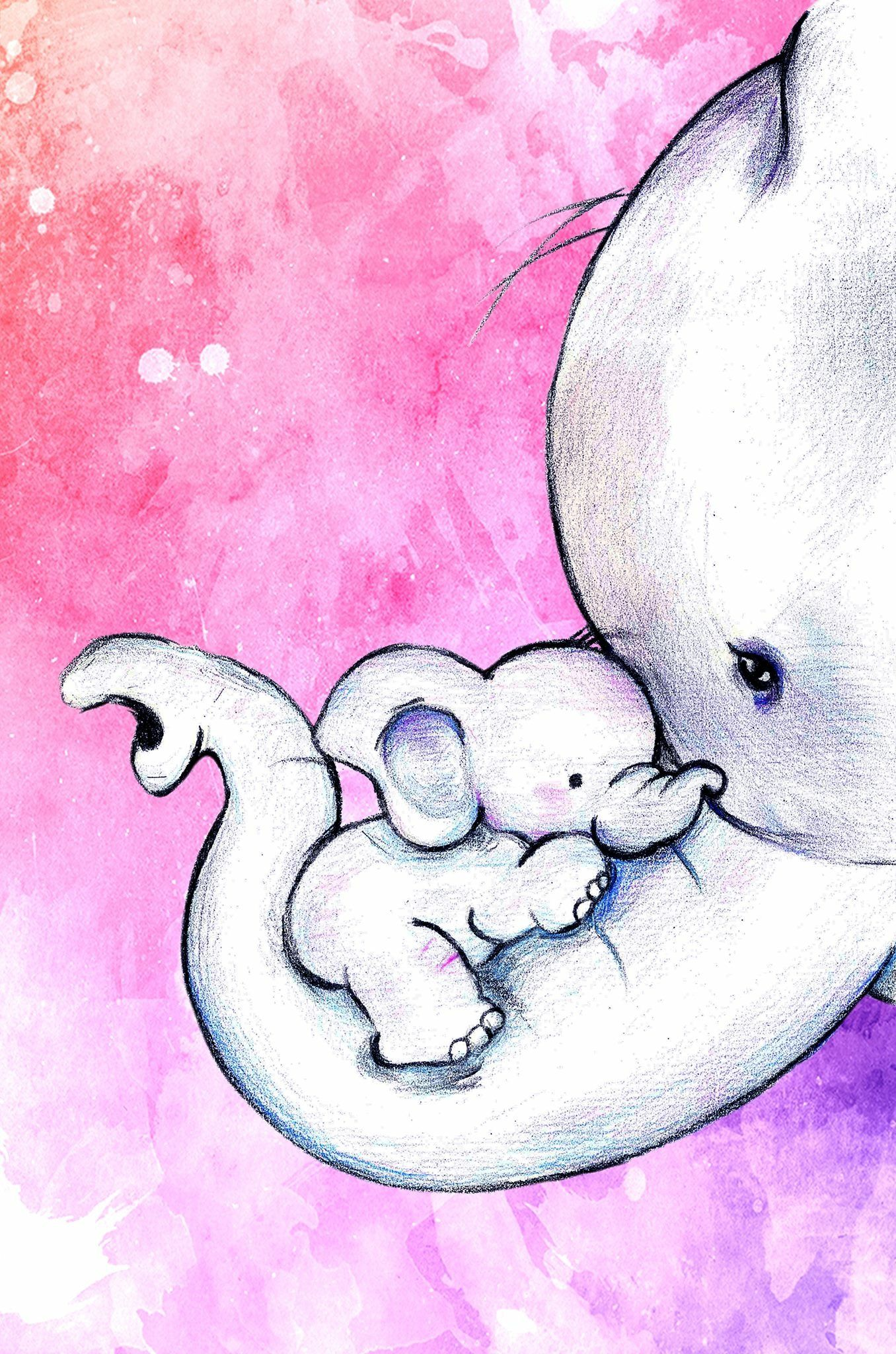 Babyzimmer Tattoo Watercolour Baby And Mommy Elephant Baby Elephants In 2019