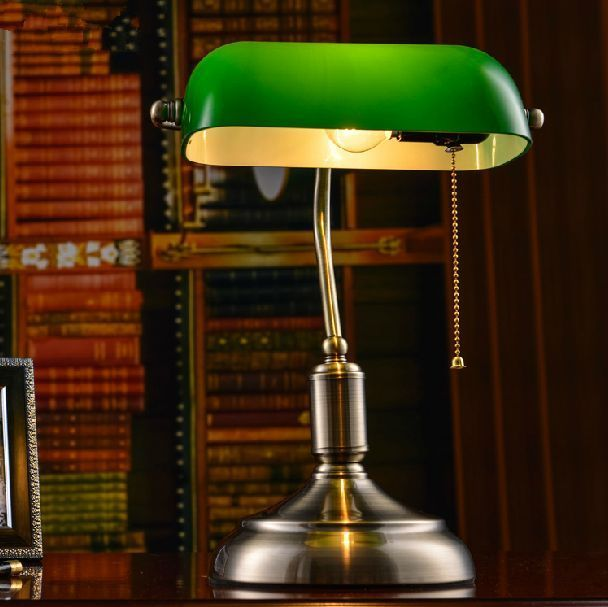 Vintage Library Style Table Lamp Bedside Desk Light Home Shade Lighting Glass