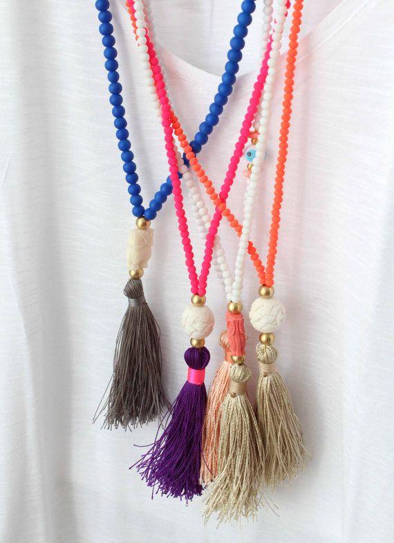 Neon Tassel Necklace Long Neon Pink Necklace by lizaslittlethings
