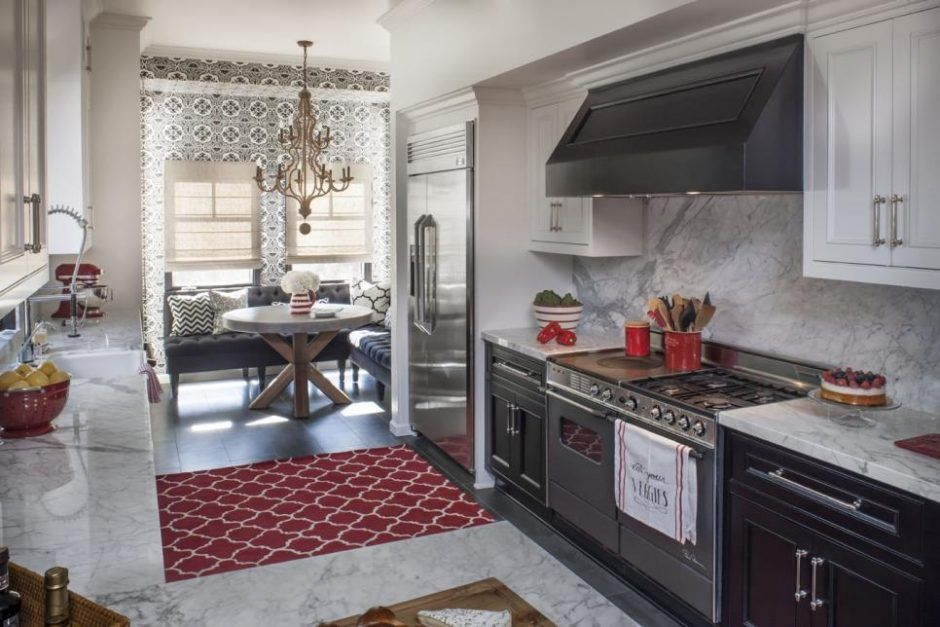 Best Gourmet Kitchen With Marble Accents And Red Appliances 400 x 300