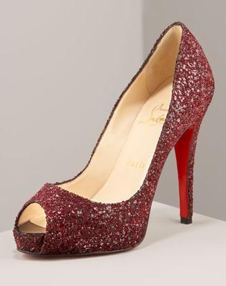 Purchase \u003e red glitter open toe heels