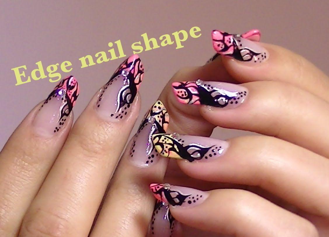 Abstract tattoo inspired nail art video tutorial edge