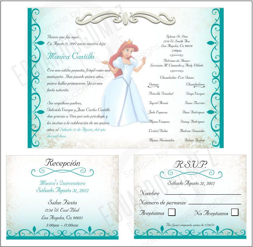 White Wedding Espa L: Quinceanera Invitation On Pinterest