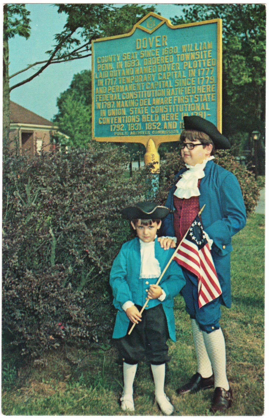 Postcard: HISTORIC DOVER MARKER at Entrance to Blue Coat Inn 800 N. State St., Dover, Delaware