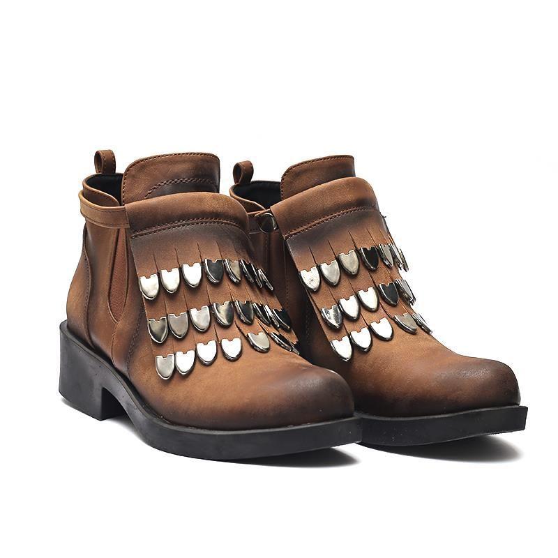 Taba Rengi Yandan Citcitli Metal Aksesuarli Cilt Deri Bayan Boots Shoes Hiking Boots