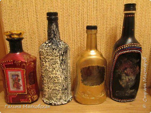 Декор предметов Декупаж Роспись И опять бутылочки  Бутылки стеклянные Краска Салфетки фото 1