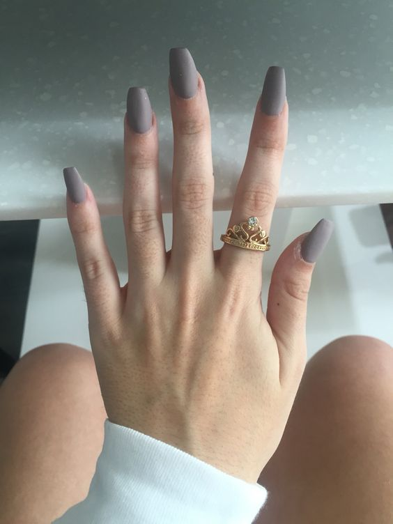 Nail Art Designs Coffin Matte Grey Silver Acrylic Simple Easy Gel Polish With Images Coffin Nails Matte Matte Nails Design Simple Acrylic Nails