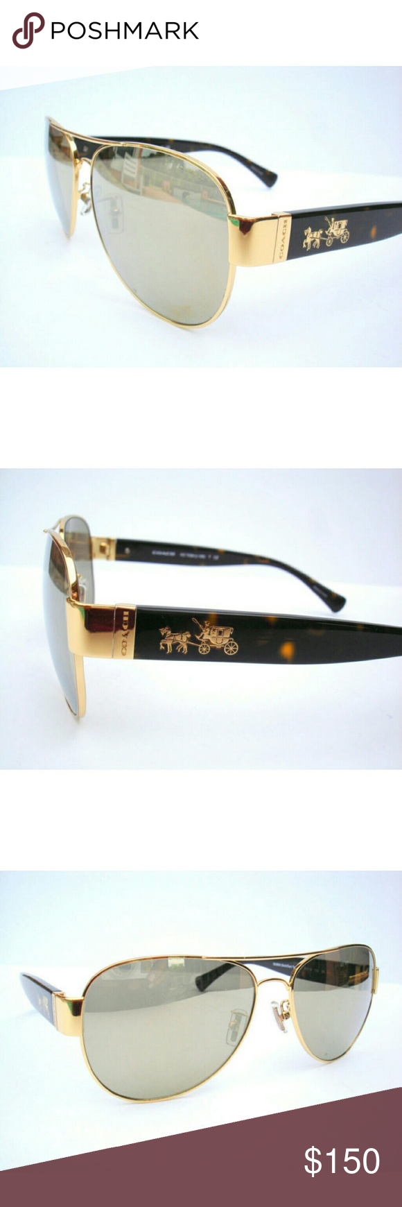 Coach Sunglasses Authentic Coach Sunglasses  Gold frame with gold mirror lenses  These were store display  Excellent condition  Original case included Coach Accessories Sunglasses