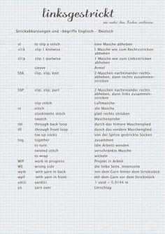 Kleines Strickworterbuch Englisch Deutsch Stricken Englisch Anleitung Stricken Englisch Deutsch