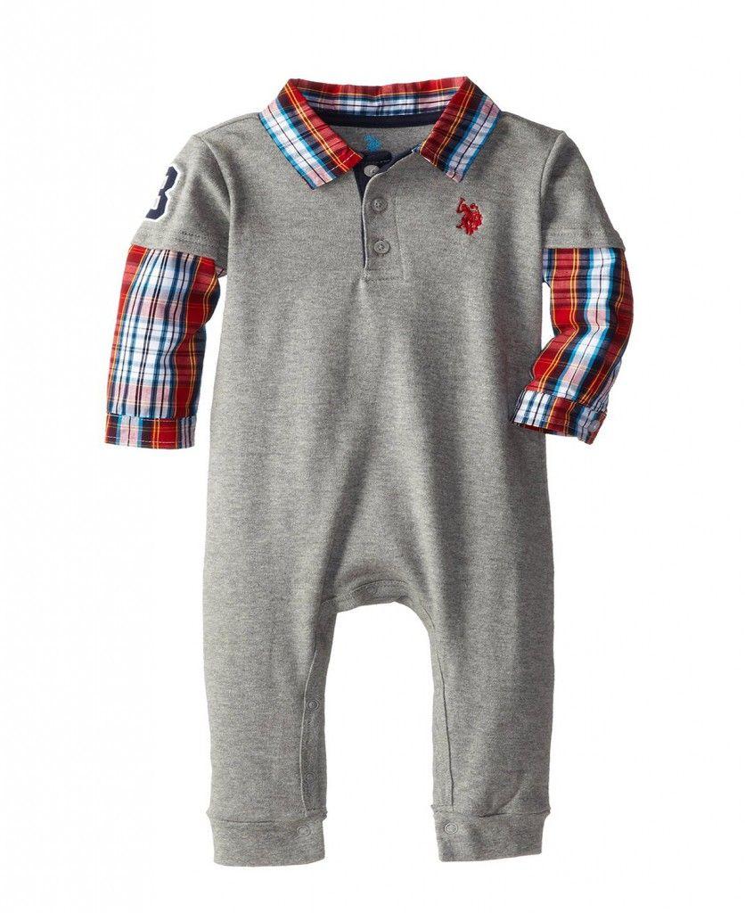 b368b6197 U.S. Polo Assn. Baby Boys Hangdown Baby Infant Romper Grey